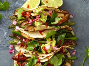 Vegan Grilled Asparagus and Shiitake Mushroom Tacos